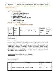 COURSE OUTLINE BE MECHANICAL ENGINEERING (HK)