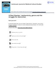 Reading 12 A Real Shocker Authenticity genre and the struggle for distinction.pdf