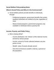 Social Welfare Policymaking Notes
