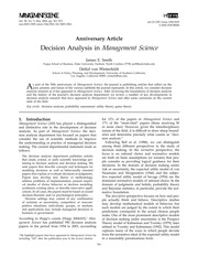 Decision Analysis in Management Science