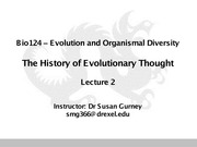 Lecture 2 - The History of Evolutionary Thought
