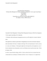 HRM 532 Sustainable Talent Management Paper - APA Format + References