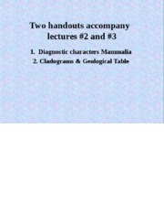 Mammalogy_Lecture 2 synapomorphies