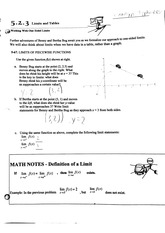 Limits and Tables Worksheet