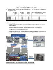 Paper Microfluidics Supplemental Notes