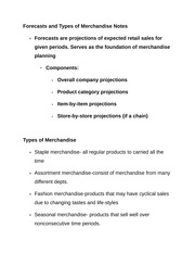 Forecasts and Types of Merchandise Notes