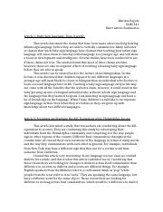 Short Article Summaries SLHS 341