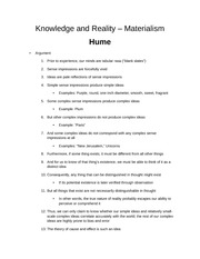 Knowledge and Reality  HUME notes from powerpoint