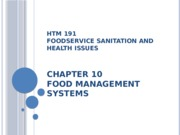 HTM 191 Chapter 10 Food Management Systems