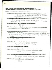 global history cold war worksheet