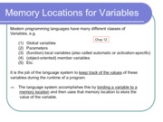 17. Memory Locations for Variables