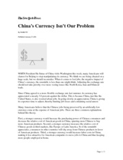 China currency is not our problem.18.Jan.2011.NYT
