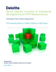 Pre feasibility report on O&M of roads on OMT basis - Karnataka PWD , Deloitte.pdf