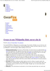 4 ways to use Wikipedia (hint_ never cite it) _ GearFire - Tips for Students