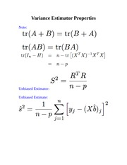 MATHS 1532-Variance Estimator Properties