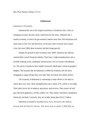 Honors Global Indonesia Essay