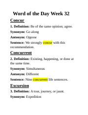 Word Of The Day Week 32   Word Of The Day Week 32 Concur 1 Definition Be Of  The Same Opinion Agree Synonym Go Along Antonym Oppose Sentence We Strongly