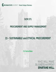 15 - SUSTAINABLE AND ETHICAL PROCUREMENT