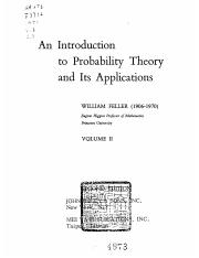 An Introduction to Probability Theory and Its Applications feller