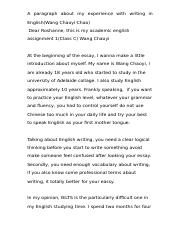 Academic English-A paragraph about my experience with writing english(Chao).docx
