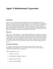 Apple A Multinational Corporation.docx