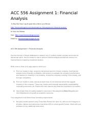 ACC 556 Assignment 1 Financial Analysis.docx