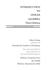 [Solutions Manual] [Instructors] Introduction to Linear Algebra--3rd Edition - Gilbert Strang