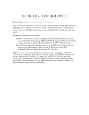 Econ 1B Assignment 6