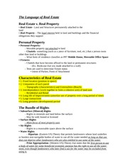 Exam 1 Notes; Real Estate Investments (Spring 2015)
