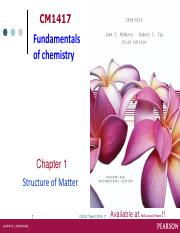 CM1417 Chapter 1 Structure of matter sem1 2016-17