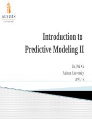Lecture 1. Introduction to Predictive Modelling