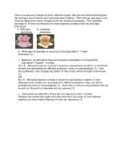 Speciation questions answers