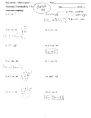 Worksheets Factoring Trinomials A 1 Worksheet Answers factoring trinomial answer key