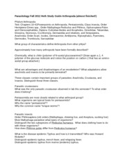 Parasitology Fall 2012 Heth Study Guide Arthropoda