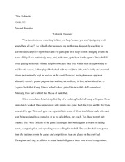 ENG 313 Personal Narrative Paper Fall 2013
