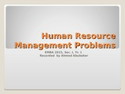 Human Resource Management Problems
