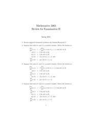 Review Questions for Exam II on Introduction to Partial Differential Equations Spring 2015