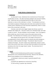 Study Guide re Intentional Torts, August 2015 Revision-2.docx