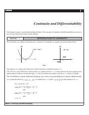 Continuity & Differentiability