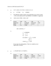 Answers to 2006 Final exam ECON 227
