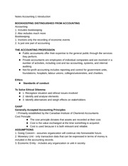 Notes Accounting 1 Introduction