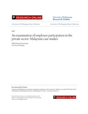 An examination of employee participation in the private sector- M