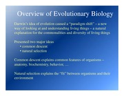 Lecture Notes Overview of Evolutionary Biology