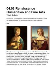04.03 Renaissance Humanities and Fine Arts