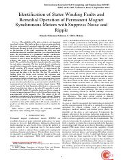 Identification of Stator Winding Faults and Remedial Operation of Permanent Magnet Synchronous Motor