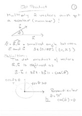 Math 120 Dot Product Notes