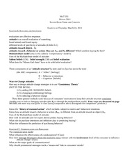 Mkt 351 Winter 2011  -- Study Guide 2 for March 24 2011