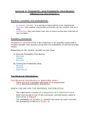 Lecture 3- Probability and Probability Distribution (Measuring Uncertainty) .docx