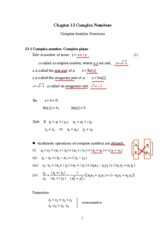 chapter 13  Complex Numbers