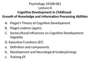 Lecture 8 2015 Cognitive Development in Childhood for posting